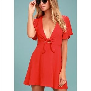 Lulu's Sea Day Red Skater Dress size Large